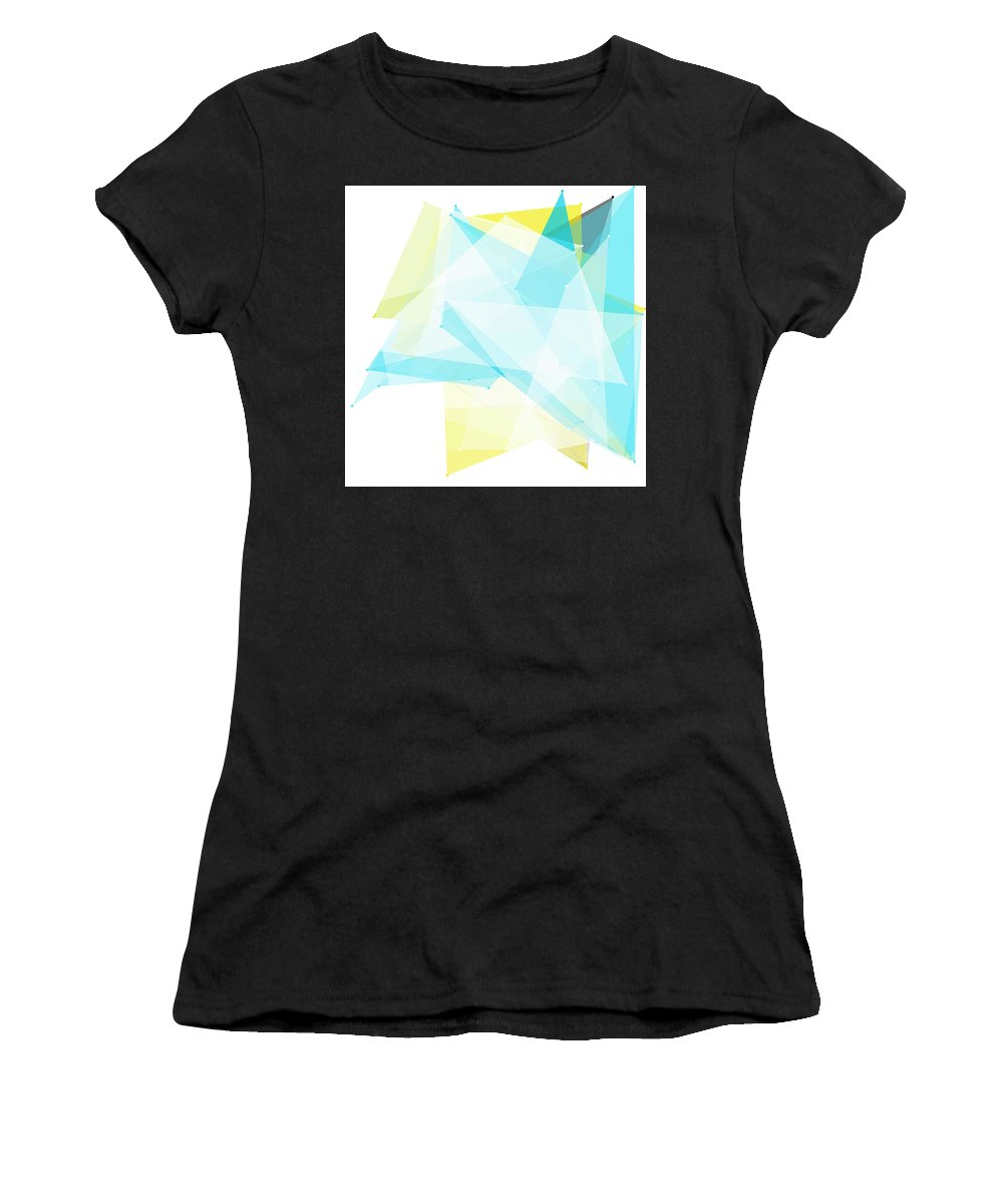 Abstract Women's T-Shirt (Athletic Fit) featuring the digital art Morning Polygon Pattern by Frank Ramspott