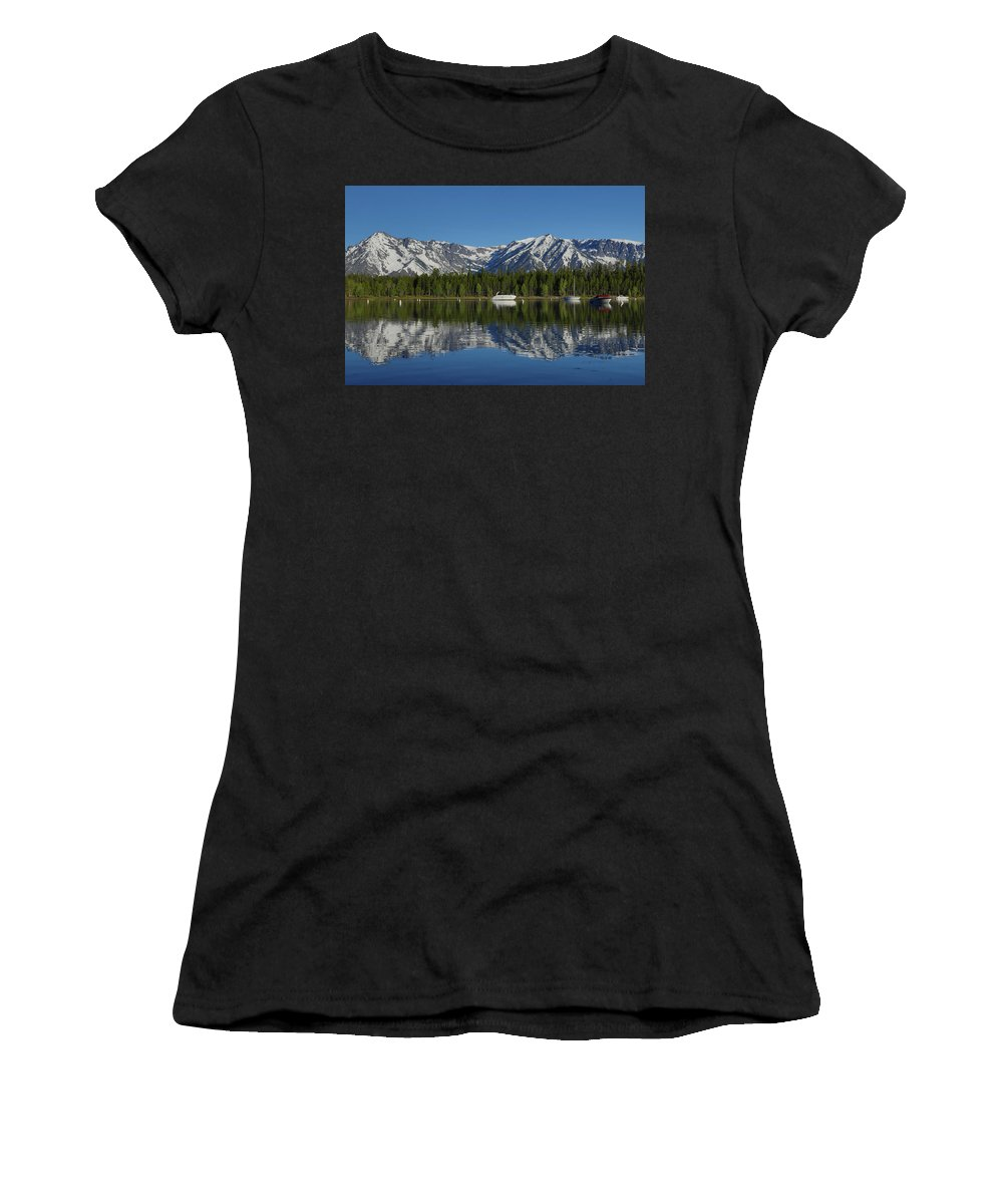 Morning Reflection Boats On Colter Bay Women's T-Shirt featuring the photograph Morning Reflection Boats On Colter Bay by Dan Sproul