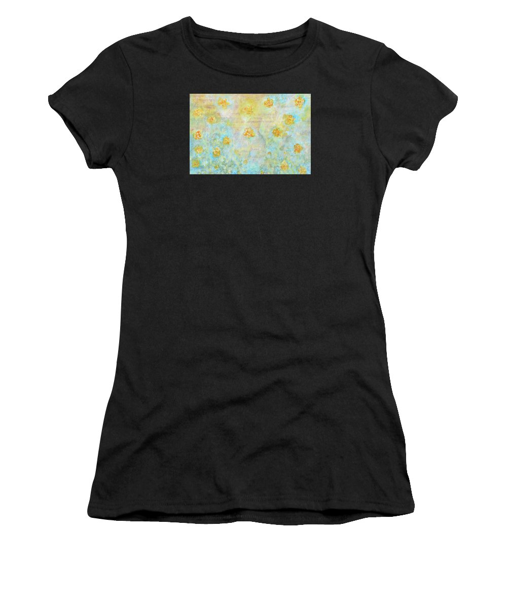 Landscape Women's T-Shirt (Athletic Fit) featuring the painting Morning Spring by Ishwar Malleret