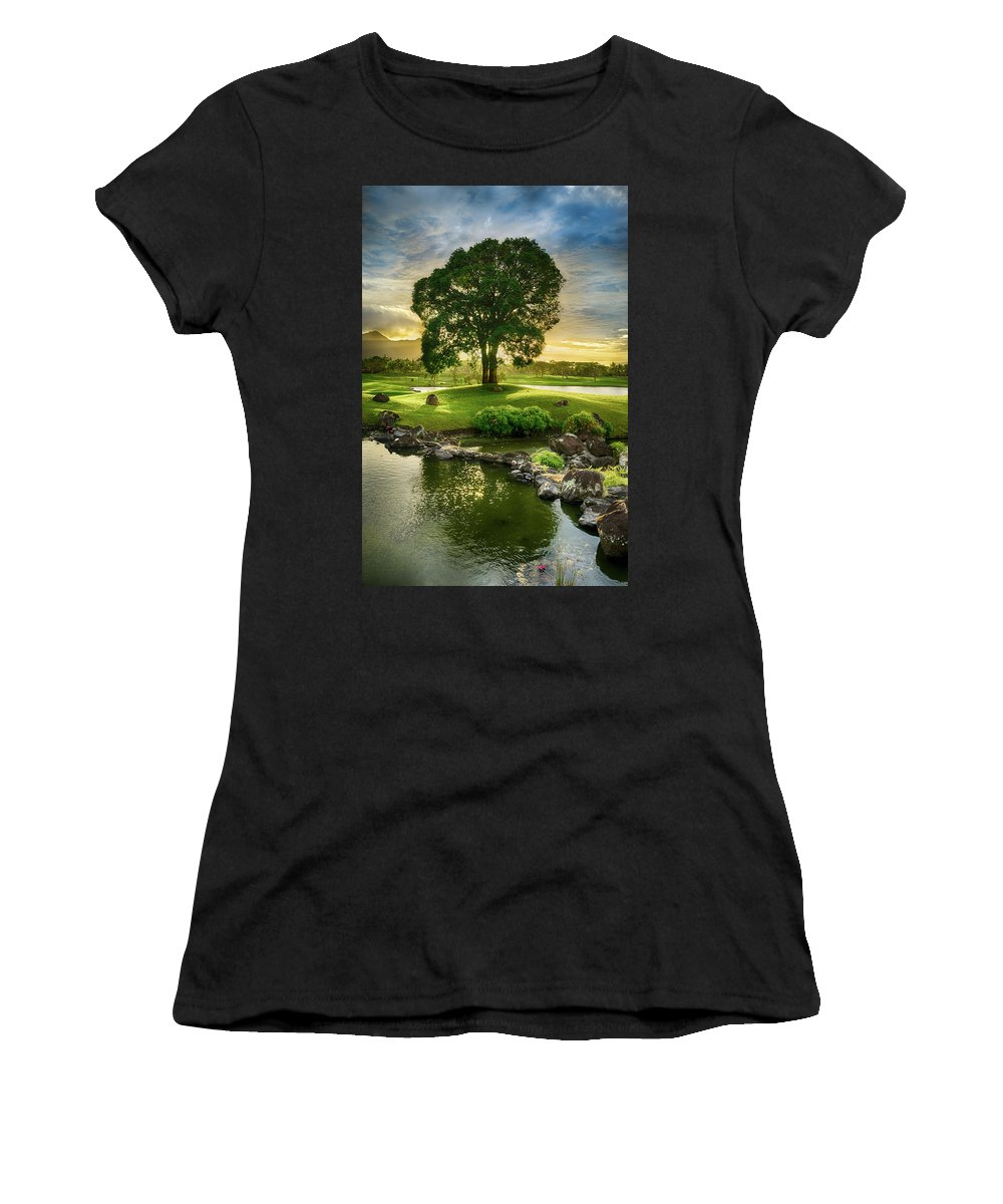 Manila Women's T-Shirt (Athletic Fit) featuring the photograph Morning Tree by Edward Nowak