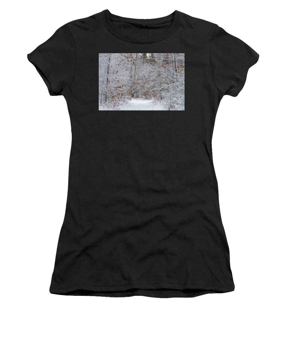 Marquette Women's T-Shirt (Athletic Fit) featuring the digital art Morning Walk by Bradley J Nelson