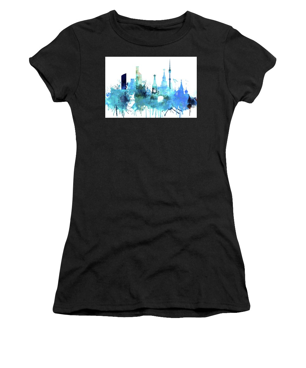 Moscow Women's T-Shirt (Athletic Fit) featuring the painting Moscow, Russia, Watercolor In Blue by Dim Dom