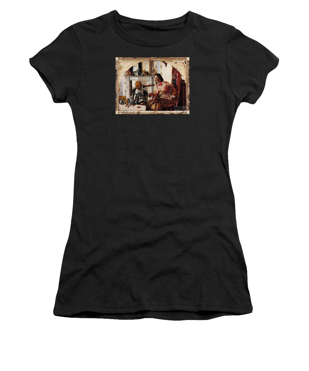 Frederic George Stephens - Mother And Child Women's T-Shirt (Athletic Fit) featuring the painting Mother And Child by MotionAge Designs
