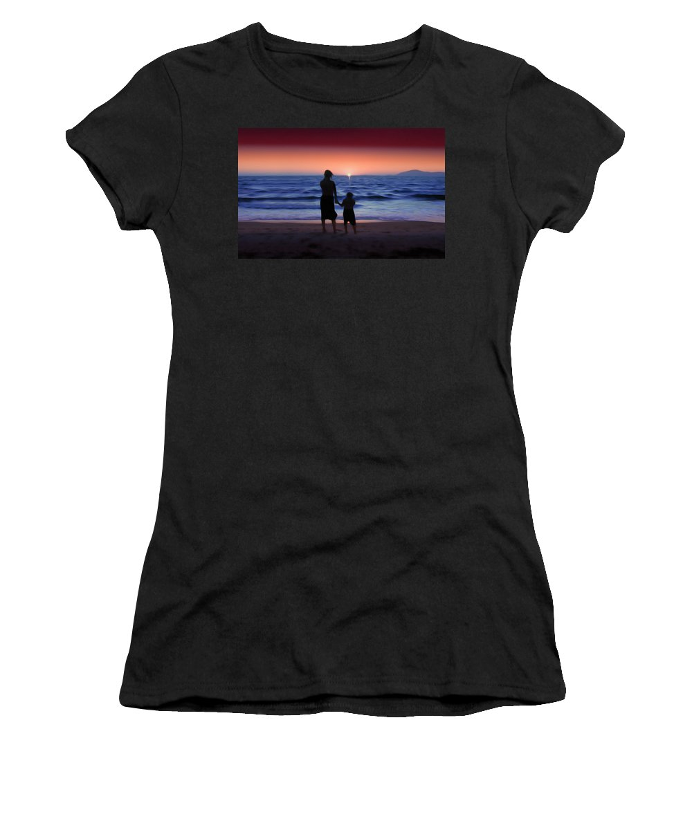 Sunrise Women's T-Shirt (Athletic Fit) featuring the photograph Mother And Daughter by Gravityx9 Designs