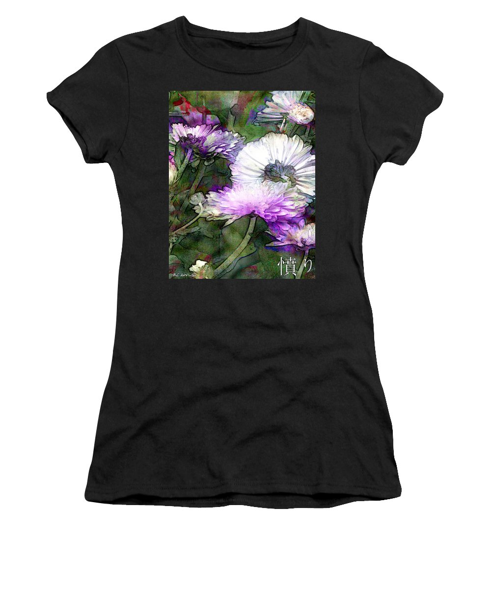 Flowers Women's T-Shirt featuring the painting Motif Japonica No. 12 by RC DeWinter