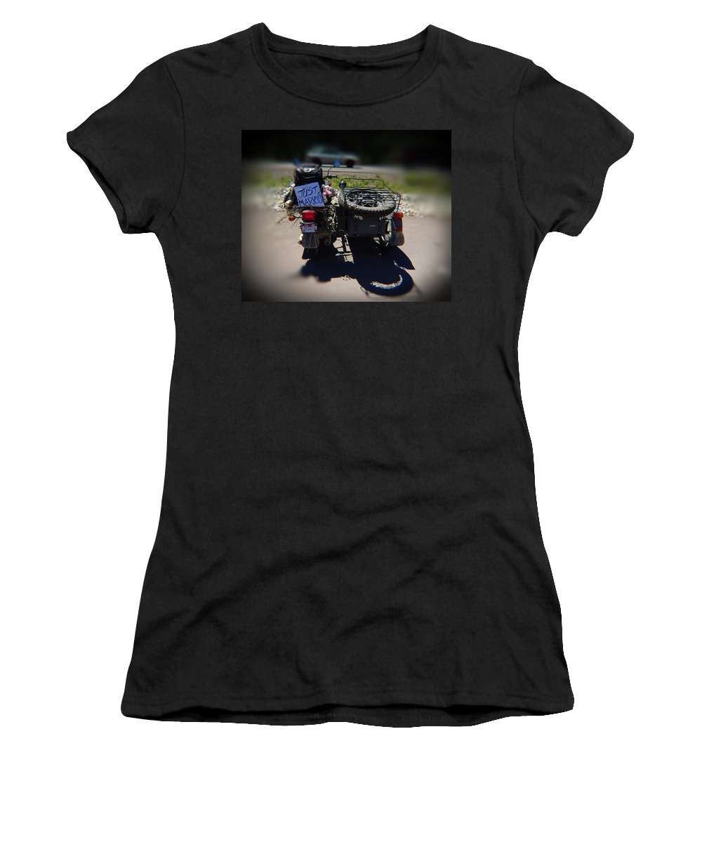 Motorcycle Women's T-Shirt (Athletic Fit) featuring the photograph Motorcycle Love Story by Leah Stark