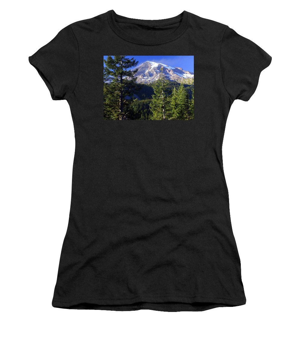 Mount Raineer Women's T-Shirt featuring the photograph Mount Raineer 1 by Marty Koch