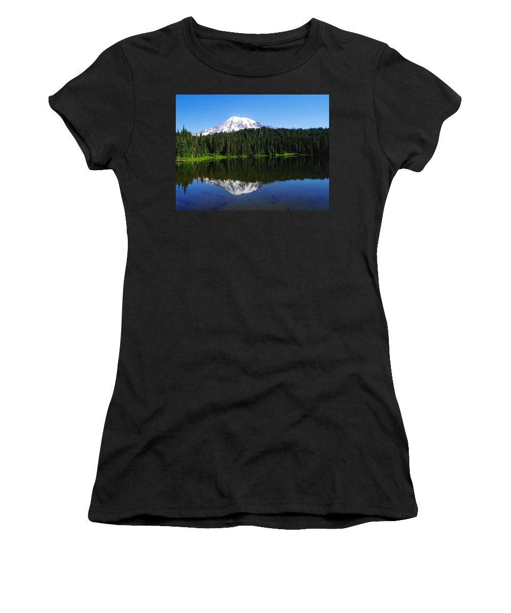 Mountains Women's T-Shirt featuring the photograph Mount Rainer Reflecting Into Reflection Lake by Jeff Swan