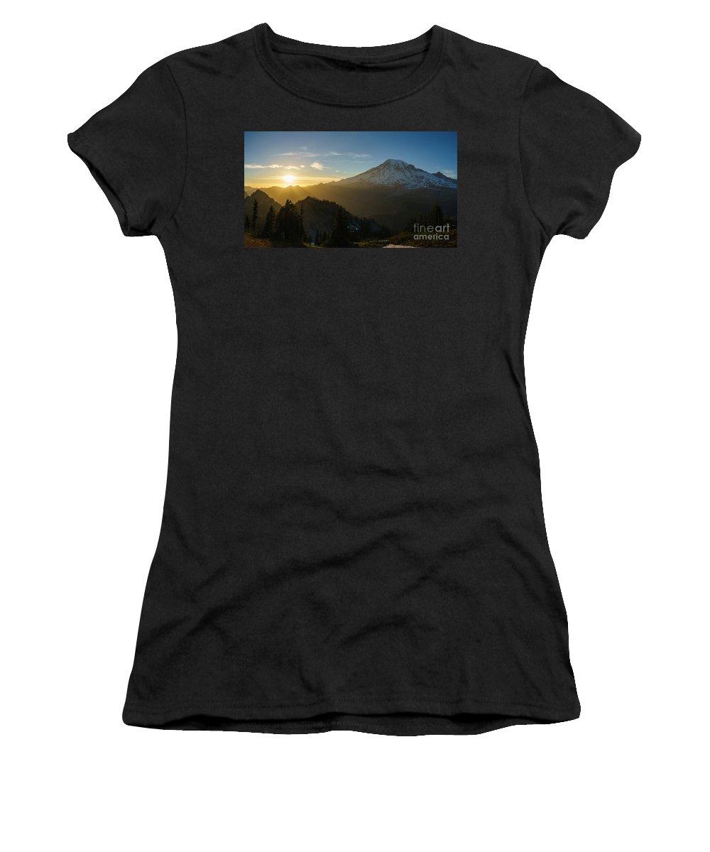 Rainier Women's T-Shirt featuring the photograph Mount Rainier Dusk Fallen by Mike Reid