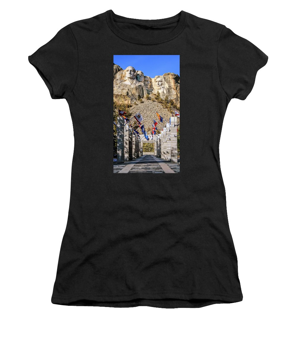 Mount Rushmore Women's T-Shirt (Athletic Fit) featuring the photograph Mount Rushmore Grand View Terrace by Susan Rissi Tregoning
