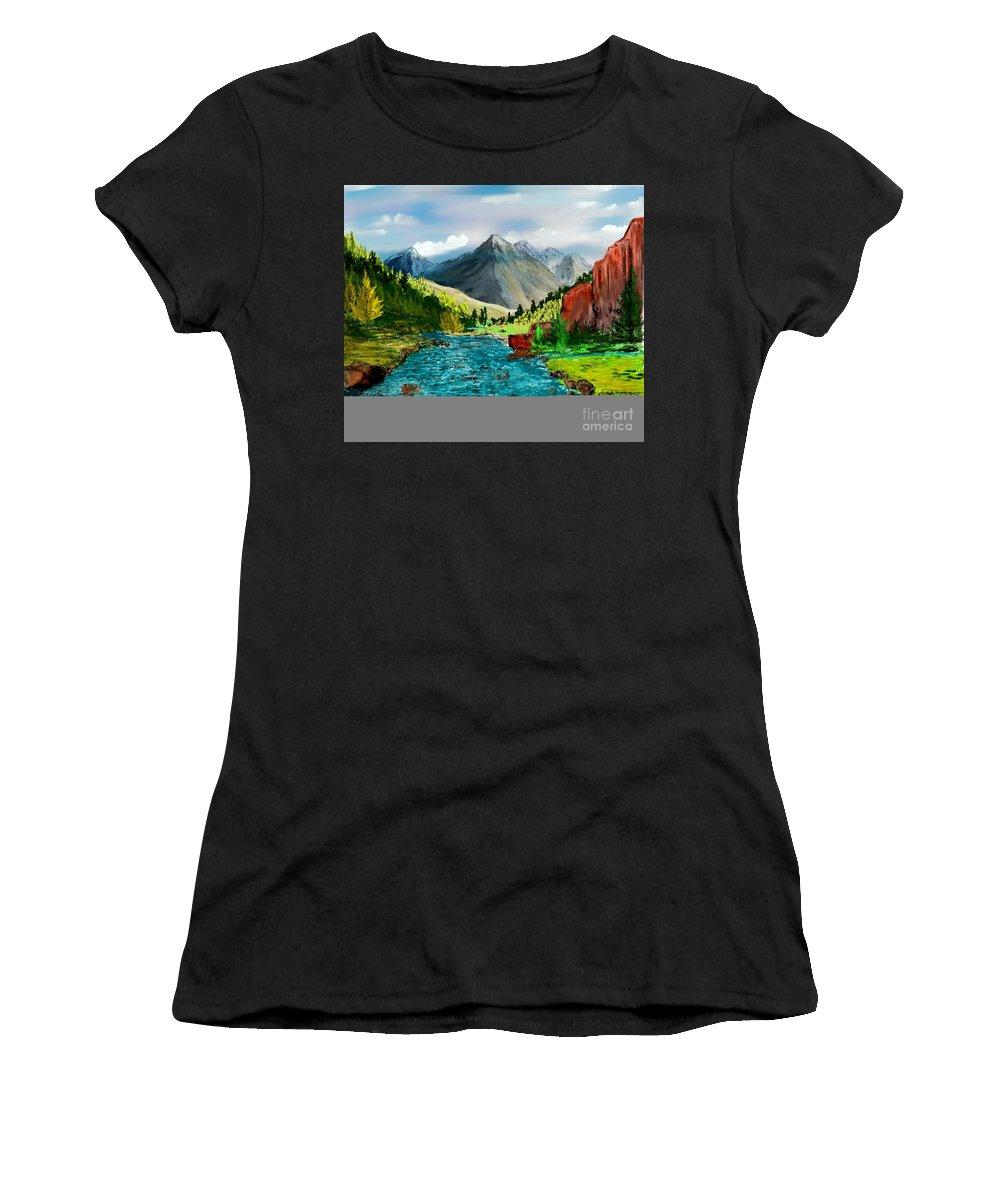 Digital Photograph Women's T-Shirt (Athletic Fit) featuring the digital art Mountaian Scene by David Lane