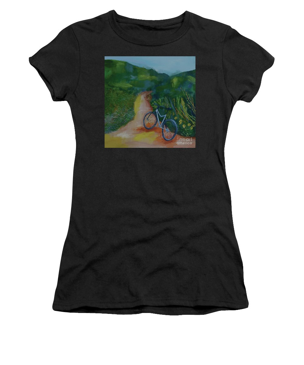 Mountain Biking Women's T-Shirt featuring the painting Mountain Biking In The Santa Monica Mountains by Stacey Best