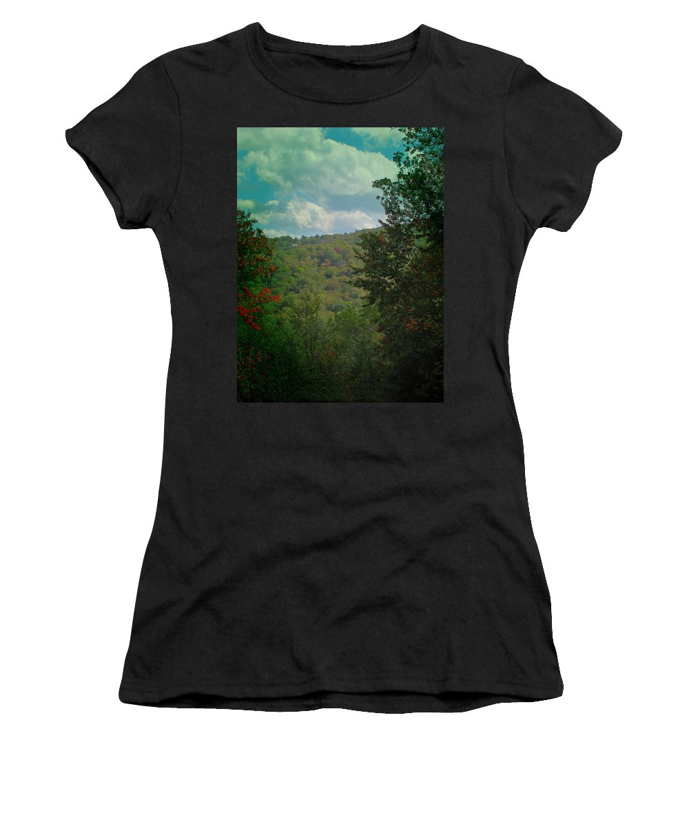 Season Women's T-Shirt (Athletic Fit) featuring the photograph Mountain Clouds by Gary Adkins