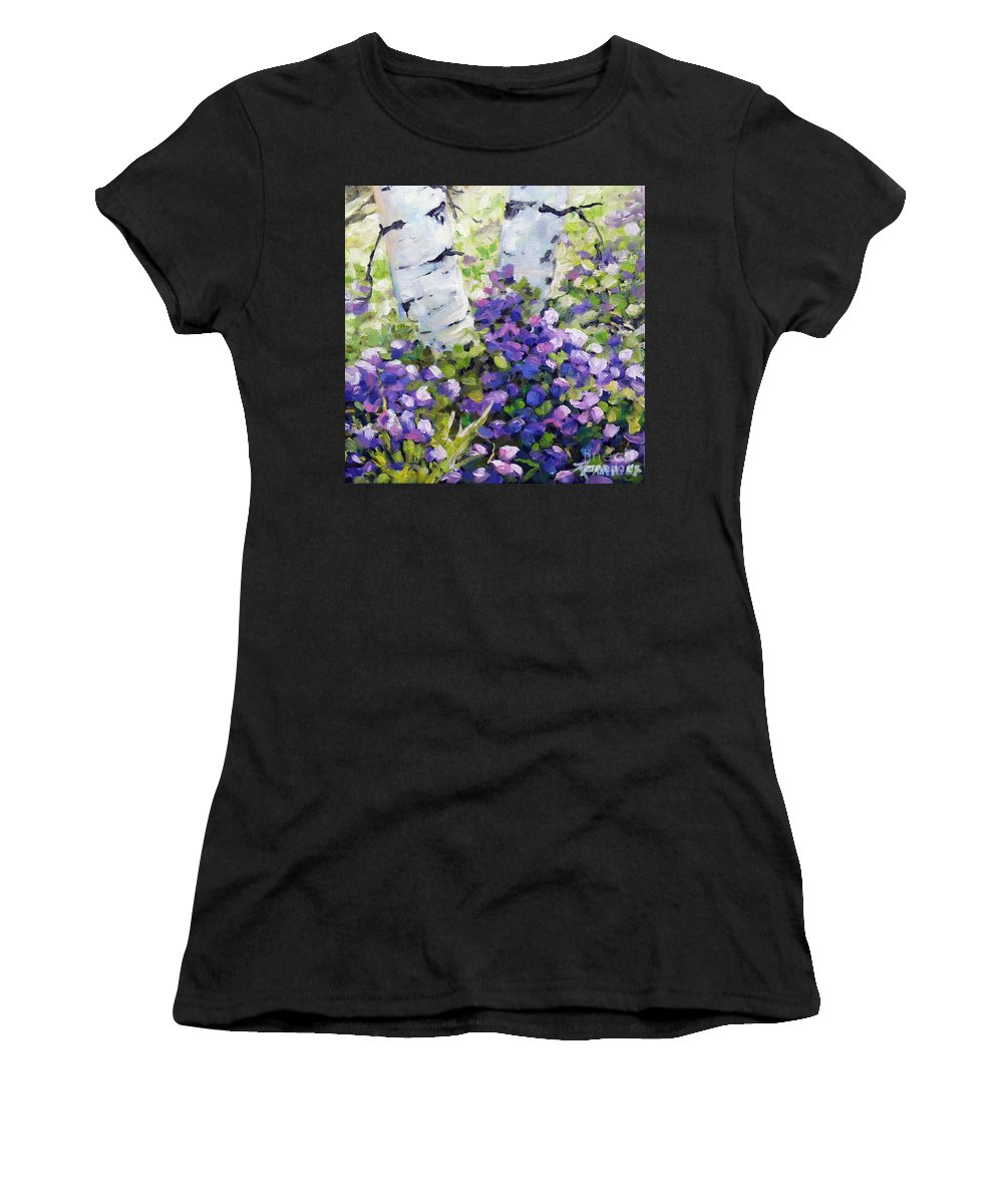Art Women's T-Shirt (Athletic Fit) featuring the painting Mountain Flowers by Richard T Pranke