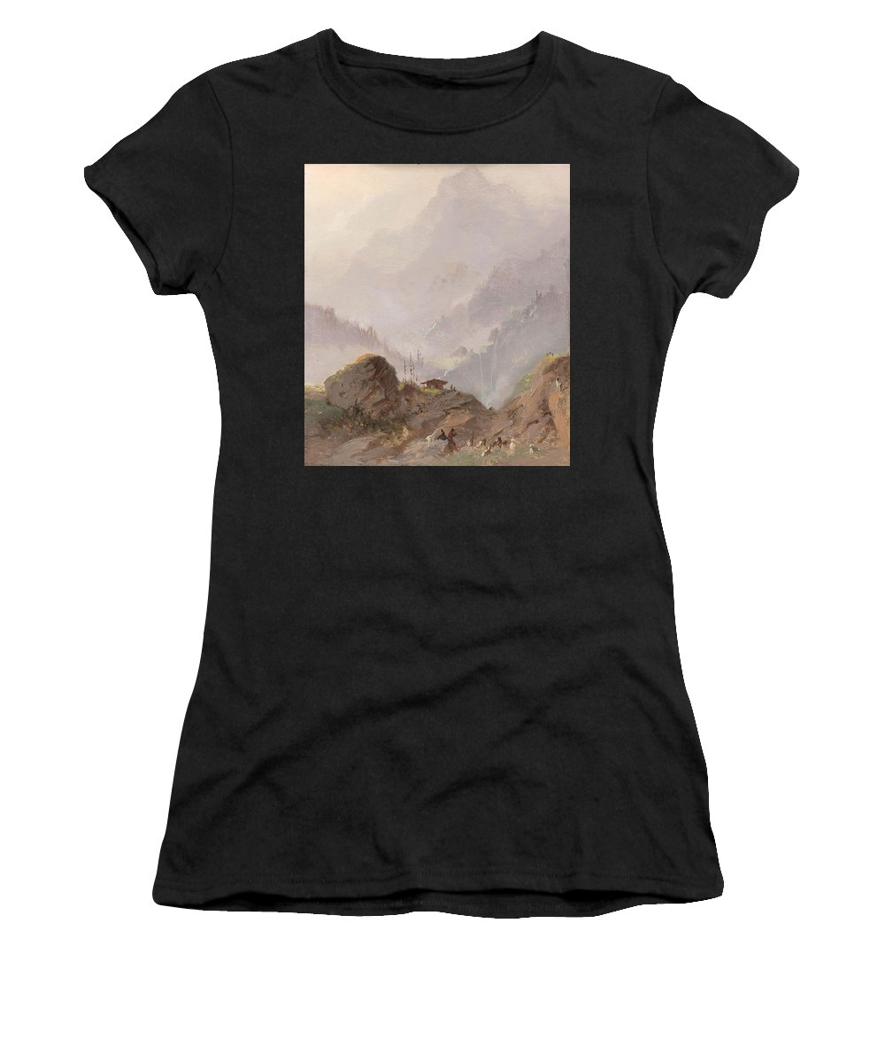 Nature Women's T-Shirt (Athletic Fit) featuring the painting Mountain Landscape In Tirol With Chamois, Johannes Tavenraat, C. 1858 by Johannes Tavenraat