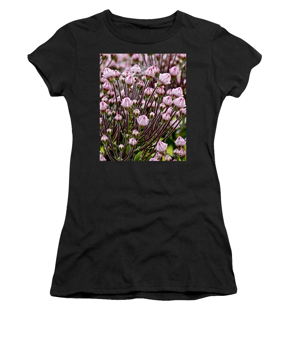 Flowers Women's T-Shirt (Athletic Fit) featuring the photograph Mountain Laurel Bush by Carol F Austin