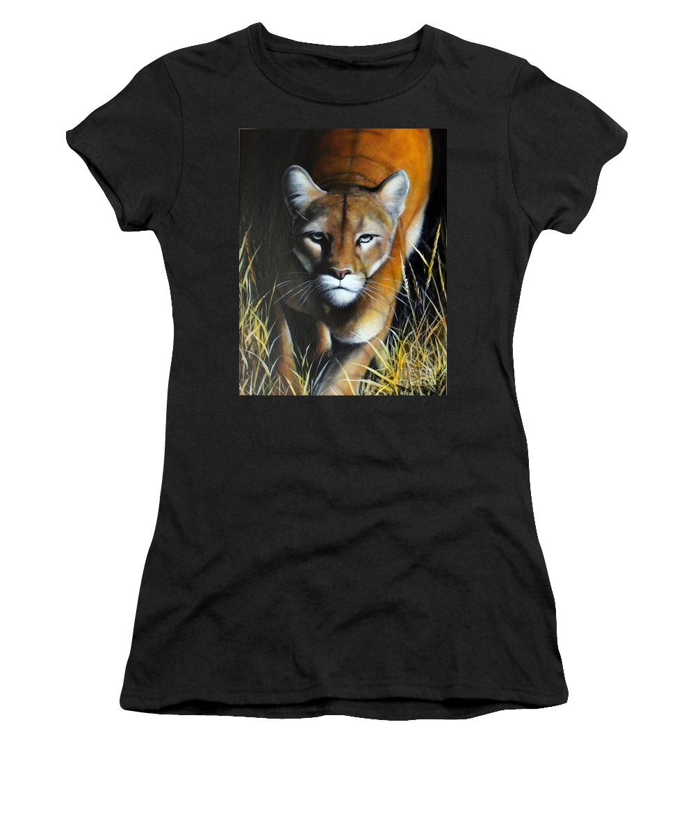 Mountain Lion Women's T-Shirt featuring the painting Mountain Lion In Tall Grass by Jon Quinn