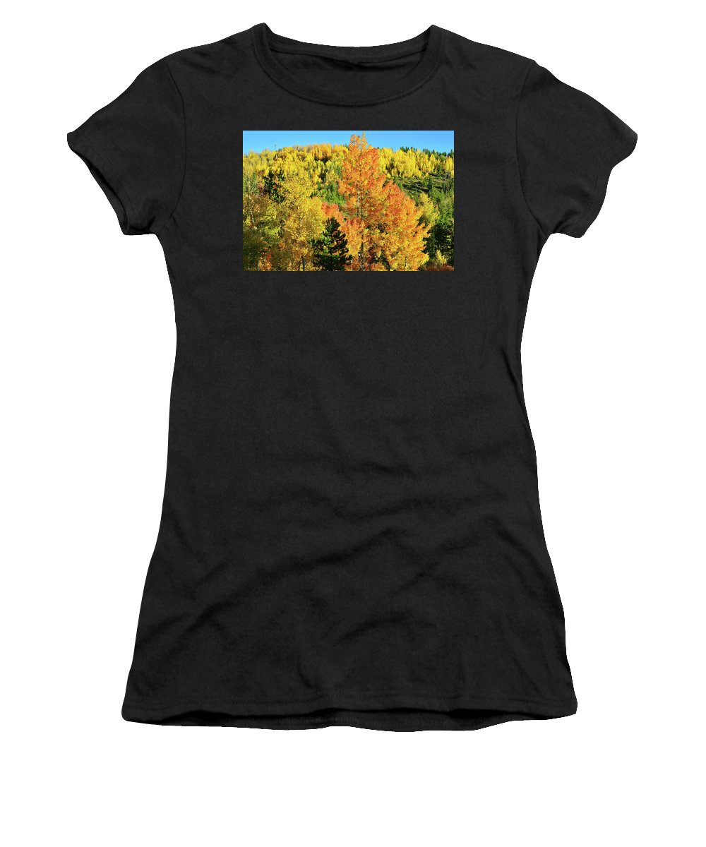 Colorado Women's T-Shirt (Athletic Fit) featuring the photograph Mountain Of Color In Dillon Colorado by Ray Mathis