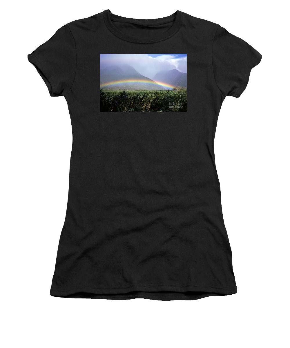 Across Women's T-Shirt (Athletic Fit) featuring the photograph Mountain Rainbow by Bill Schildge - Printscapes