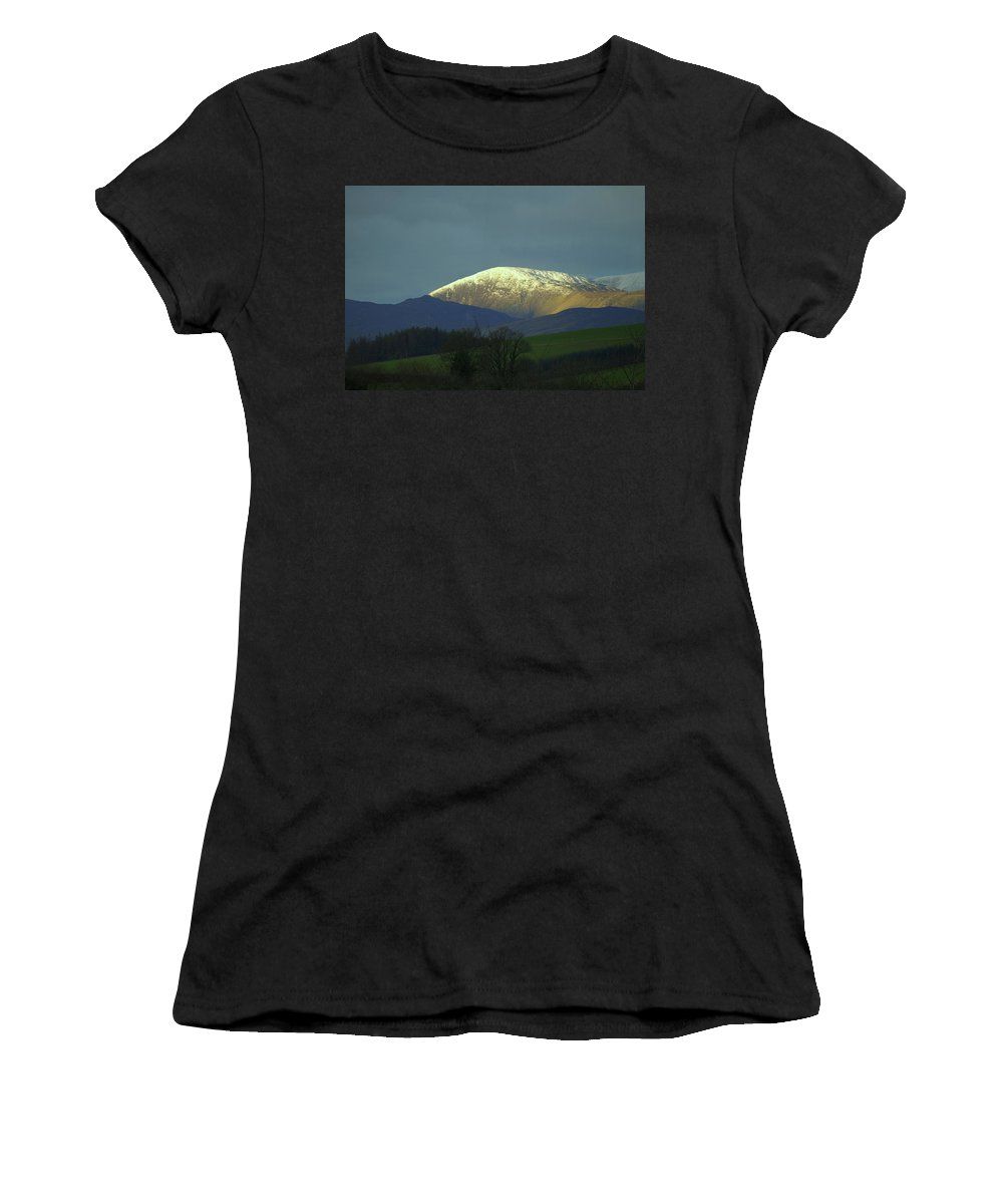 Ridge Hill Peak Mountain Crest Snow Winter Snowdonia Wales Trees Morning Dawn Early Cold Crisp Women's T-Shirt (Athletic Fit) featuring the photograph Mountain Ridge by John Paxton Sheriff