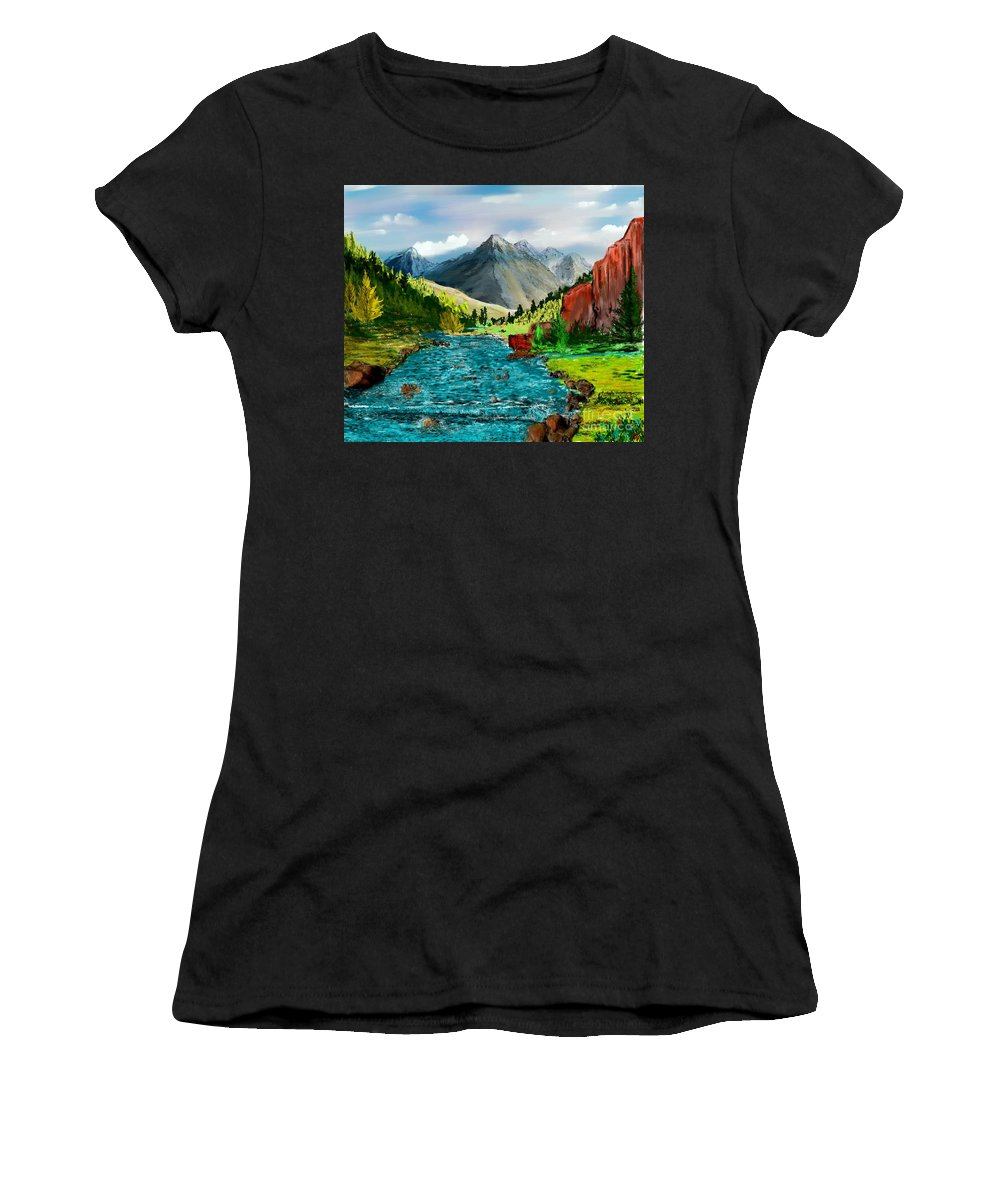 Nature Women's T-Shirt (Athletic Fit) featuring the digital art Mountain Stream by David Lane