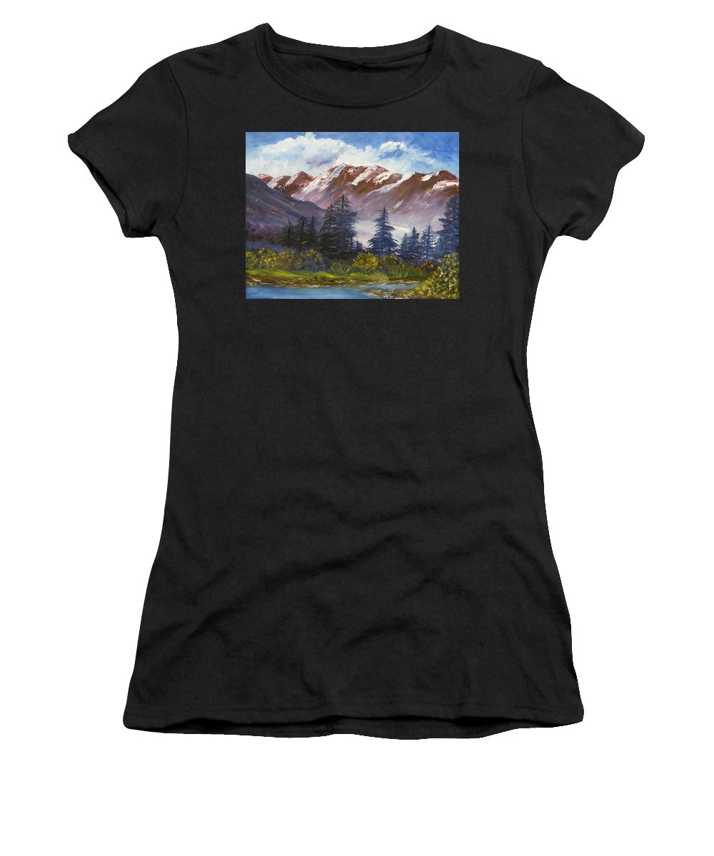 Oil Painting Women's T-Shirt (Athletic Fit) featuring the painting Mountains I by Lessandra Grimley