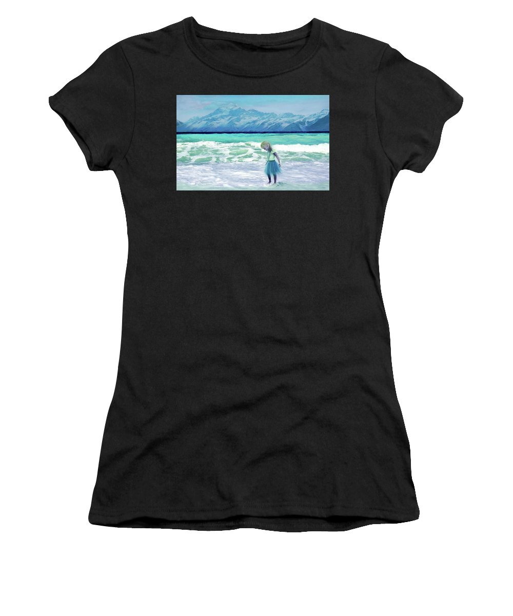 Ocean Women's T-Shirt (Athletic Fit) featuring the painting Mountains Ocean With Little Girl by Susanna Katherine