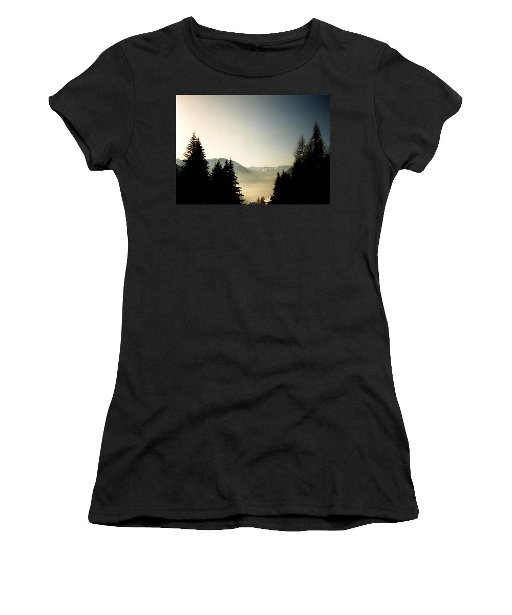 Mountains Through The Trees At Sunrise Women's T-Shirt (Athletic Fit) featuring the photograph Mountains Through The Trees At Sunrise by Catt Kyriacou