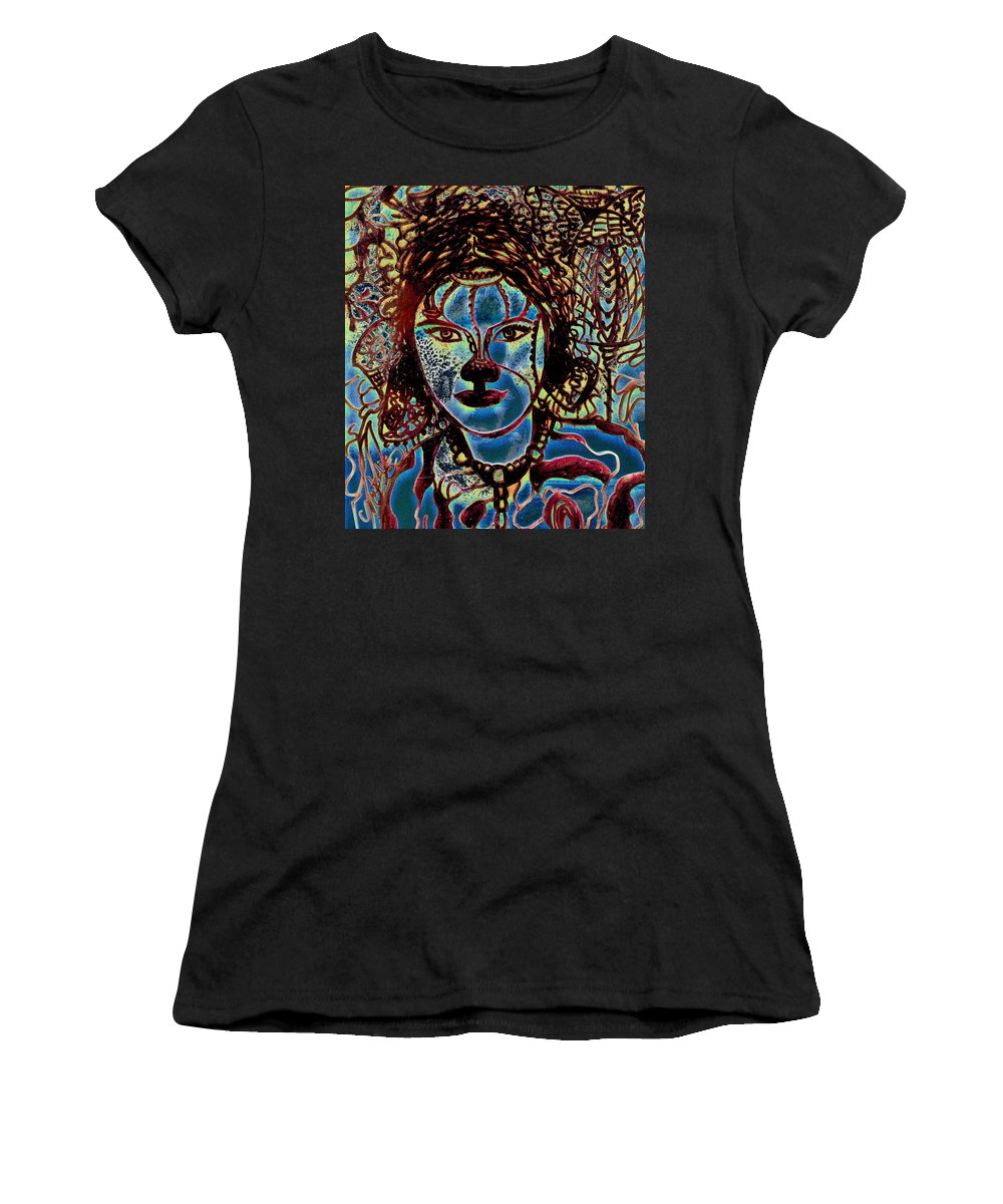 Drawing Women's T-Shirt (Athletic Fit) featuring the drawing Mouse In The House by Natalie Holland