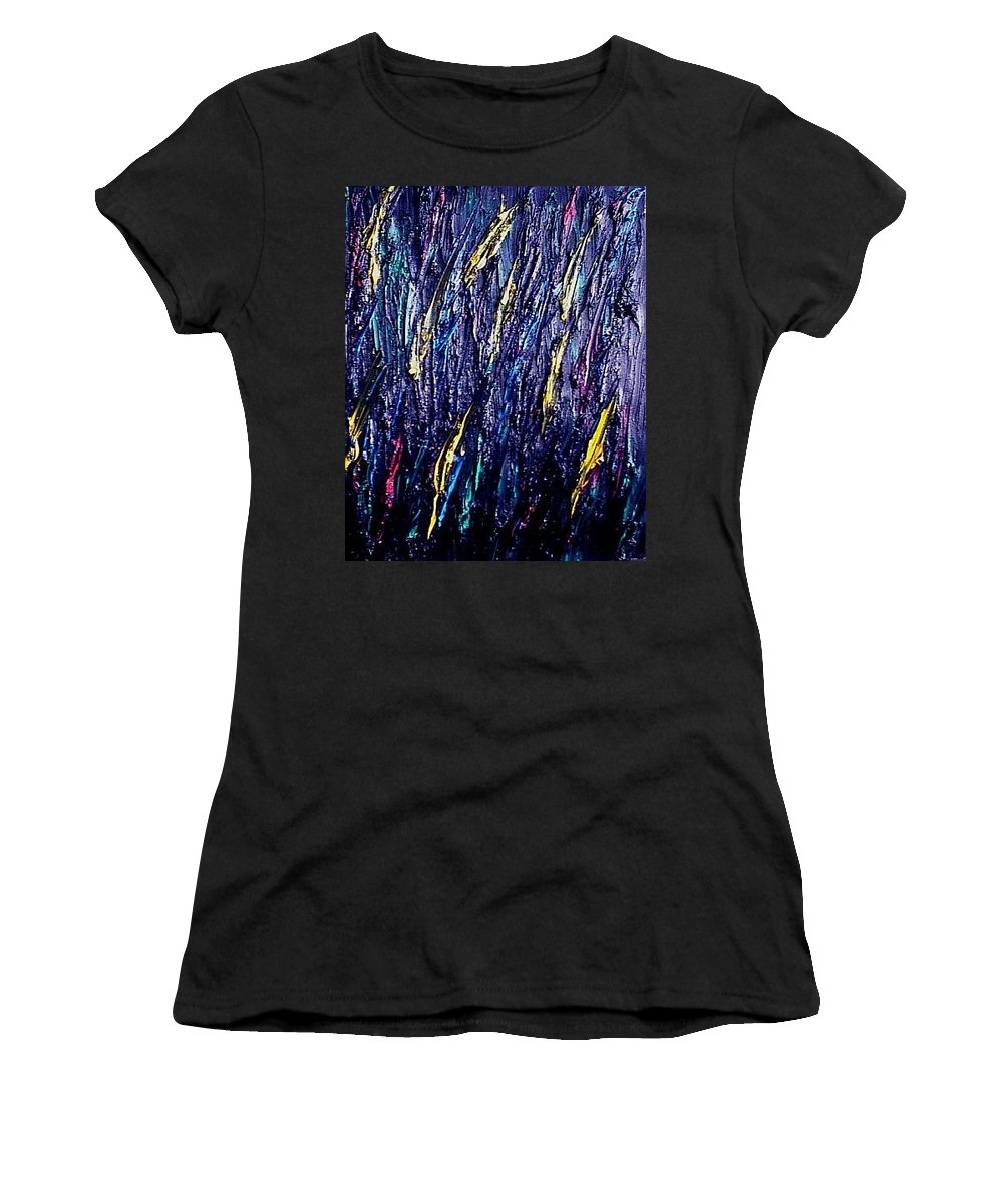 Moveonart! Digital Gallery Women's T-Shirt featuring the painting Moveonart Colors In The Dark by Jacob Kanduch