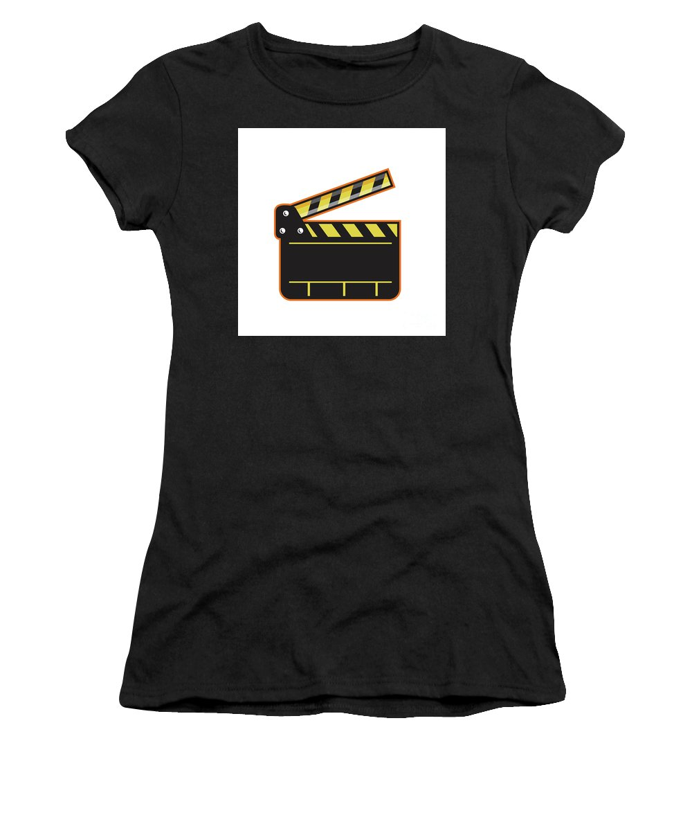 Clapper Baord Women's T-Shirt (Athletic Fit) featuring the digital art Movie Camera Slate Clapper Board Open Retro by Aloysius Patrimonio