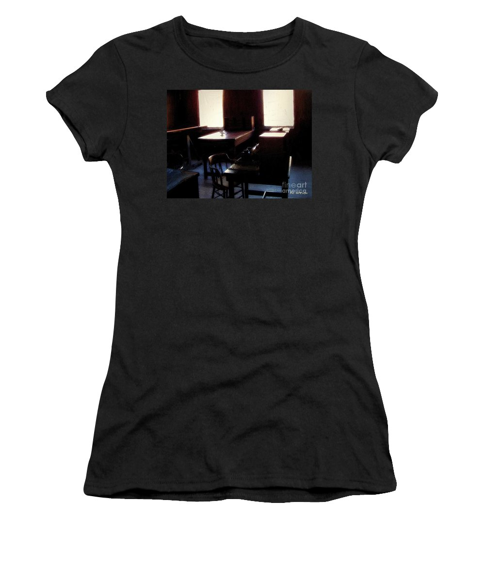 Antiques Women's T-Shirt featuring the painting Mr. Edison Has Left The Building by RC DeWinter