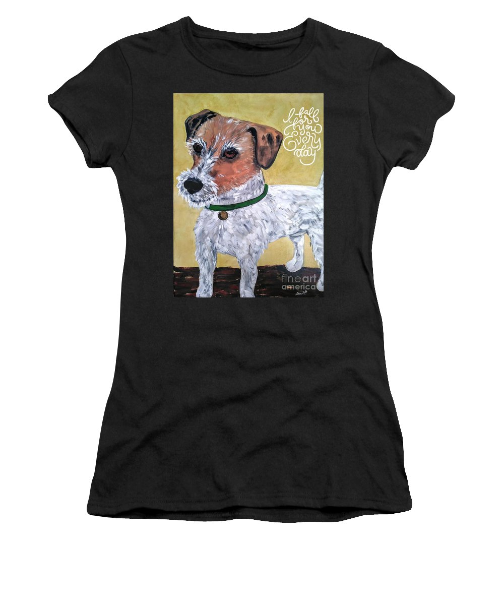 Dogs Women's T-Shirt (Athletic Fit) featuring the painting Mr. R. Terrier by Reina Resto