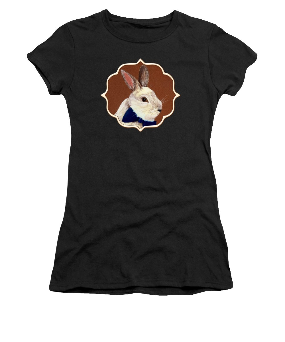Rabbit Women's T-Shirt (Athletic Fit) featuring the painting Mr. Rabbit by Anastasiya Malakhova