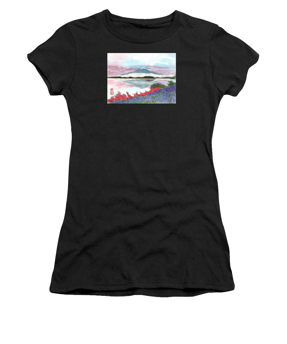 Japanese Women's T-Shirt featuring the painting Mt. Fuji Morning by Terri Harris