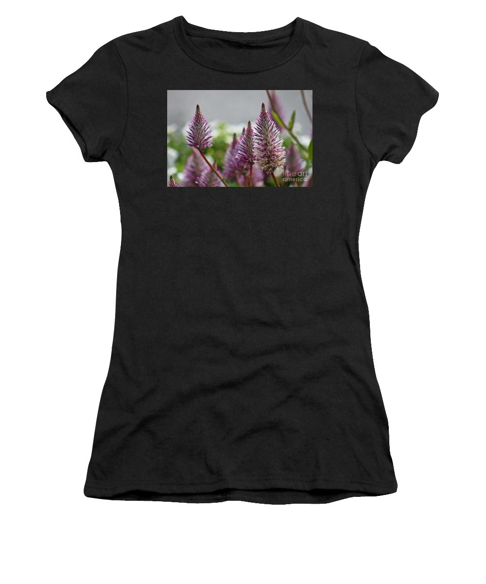 Pink Women's T-Shirt (Athletic Fit) featuring the photograph Mt. Washington Flowers by Deena Withycombe