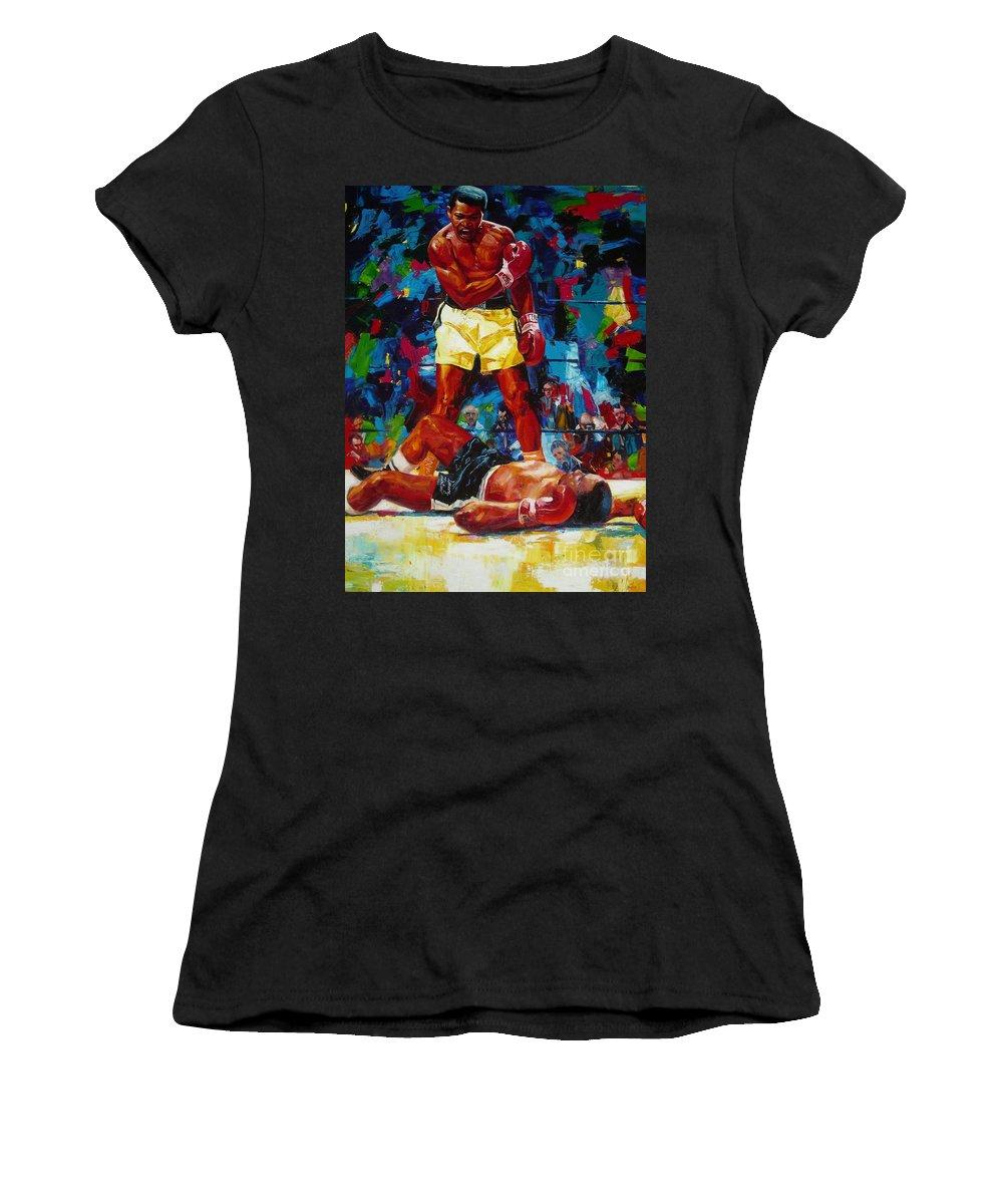 Ignatenko Women's T-Shirt featuring the painting Muhammad Ali by Sergey Ignatenko