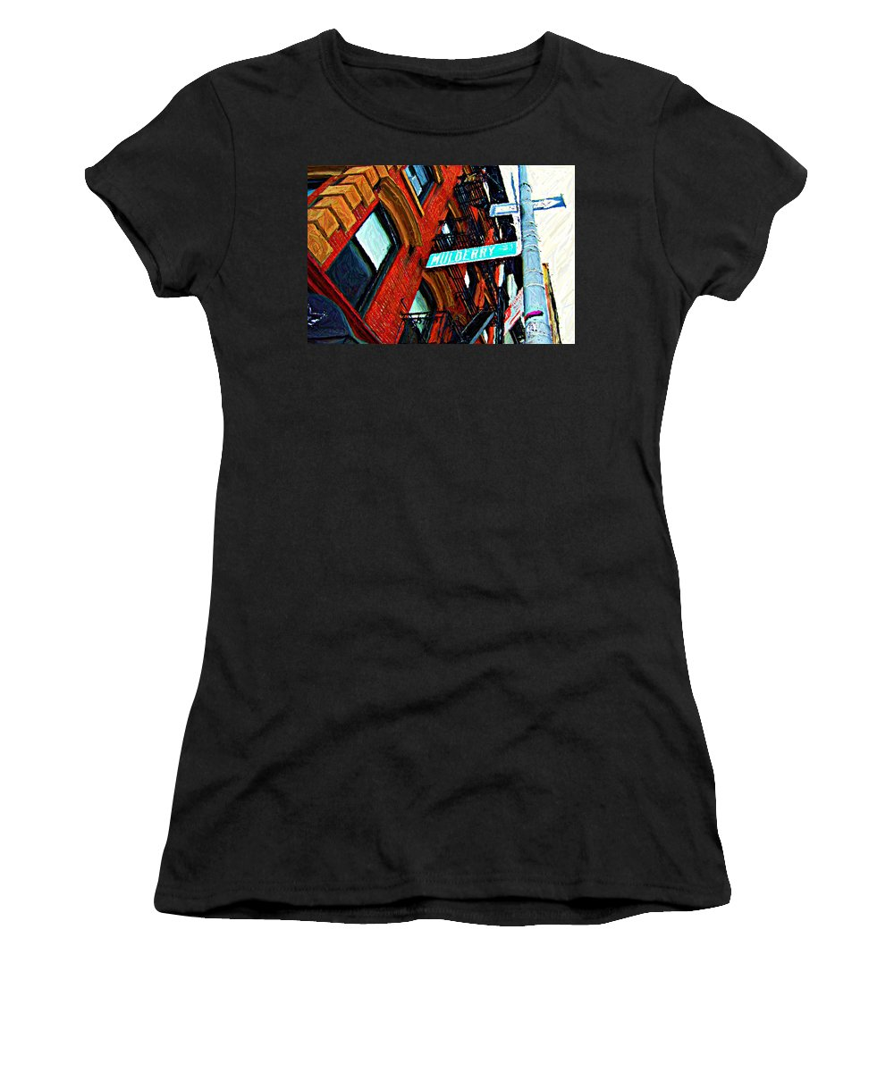 Little Italy Women's T-Shirt (Athletic Fit) featuring the digital art Mulberry Street Sketch by Randy Aveille