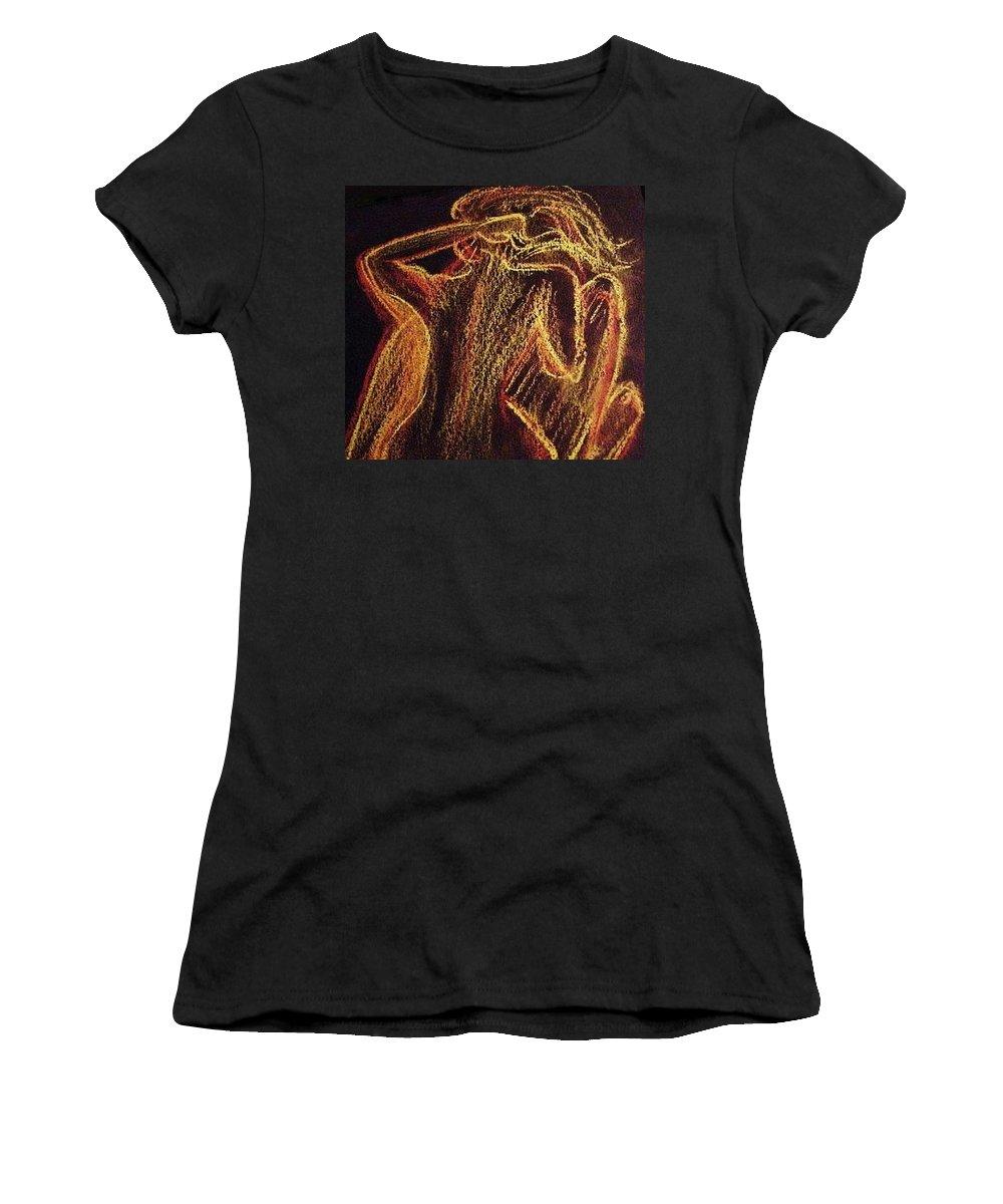 Woman Women's T-Shirt featuring the drawing Mulher by Nila Poduschco
