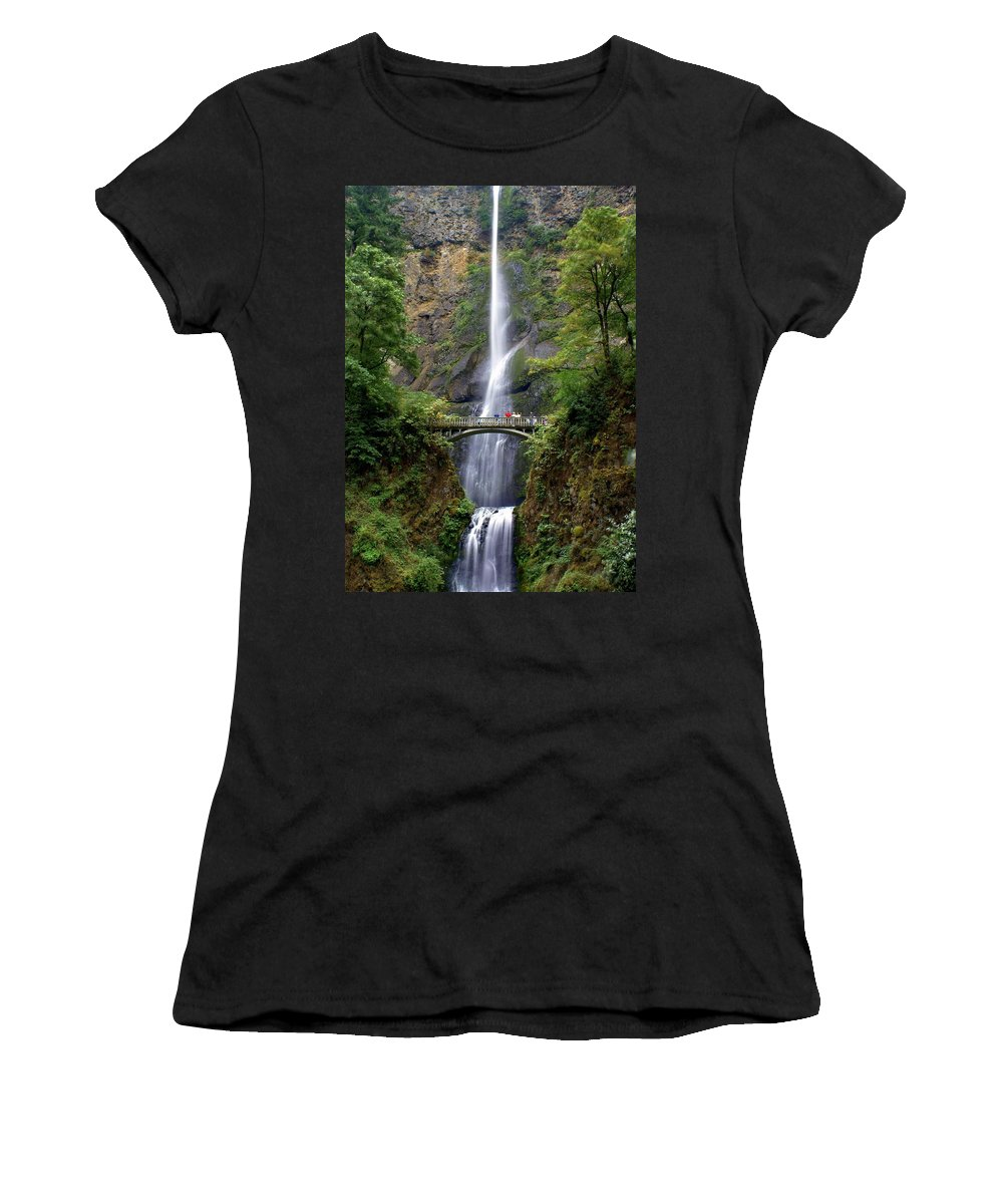 Waterfalls Women's T-Shirt (Athletic Fit) featuring the photograph Multanomah Falls by Marty Koch