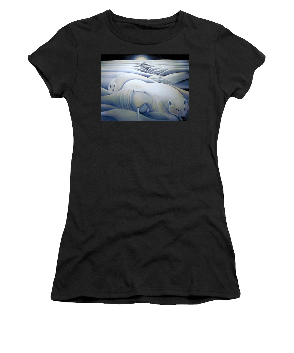Mural Women's T-Shirt featuring the painting Mural Winters Embracing Crevice by Nancy Griswold