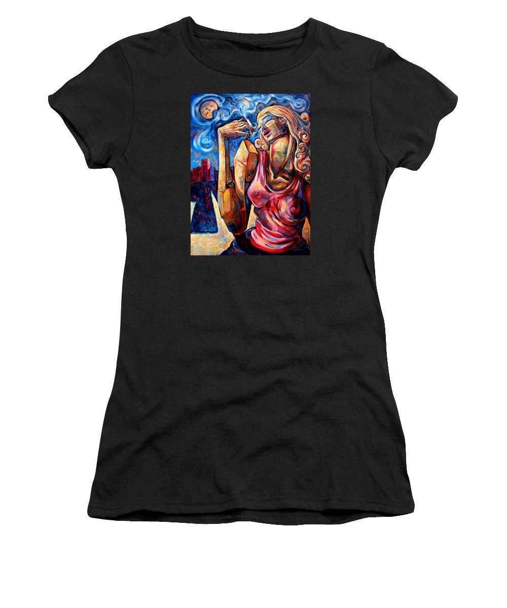 Surrealism Women's T-Shirt (Athletic Fit) featuring the painting Muse Of The Long Neck In The Night City by Darwin Leon