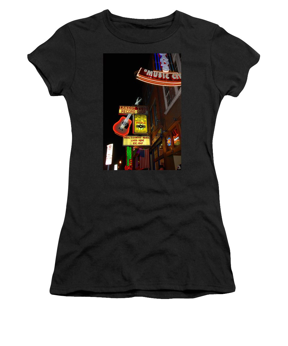 Nashville Women's T-Shirt (Athletic Fit) featuring the photograph Music City Nashville by Susanne Van Hulst
