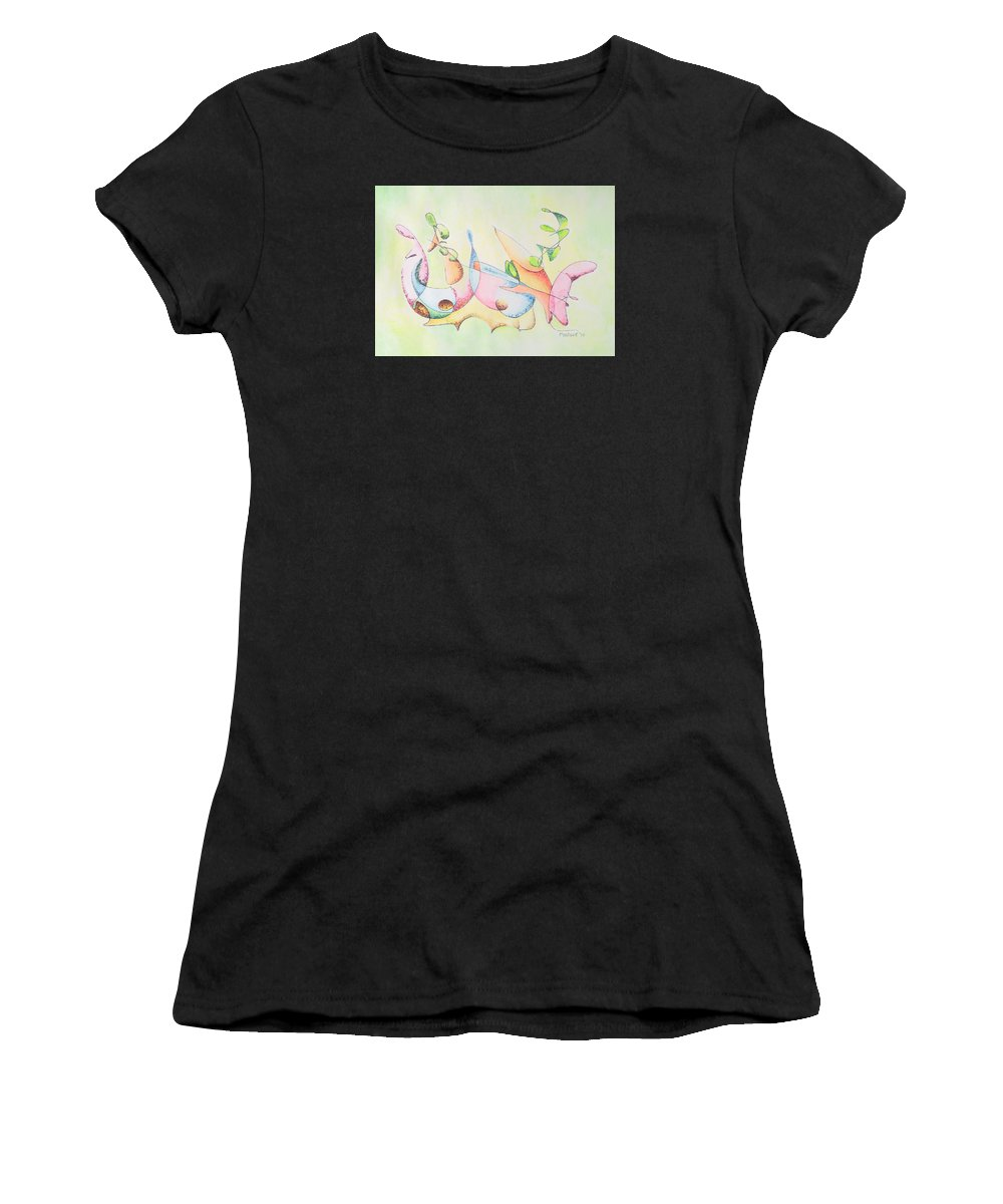 Watercolor Women's T-Shirt (Athletic Fit) featuring the drawing Music by Dave Martsolf