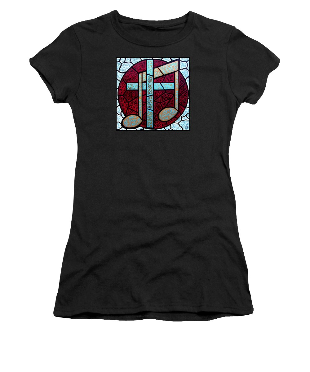 Cross Women's T-Shirt (Athletic Fit) featuring the painting Music Of The Cross by Jim Harris