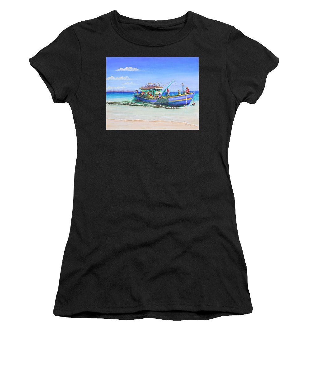 Boat Women's T-Shirt (Athletic Fit) featuring the painting Mv Alice Mary by Patricia Piffath