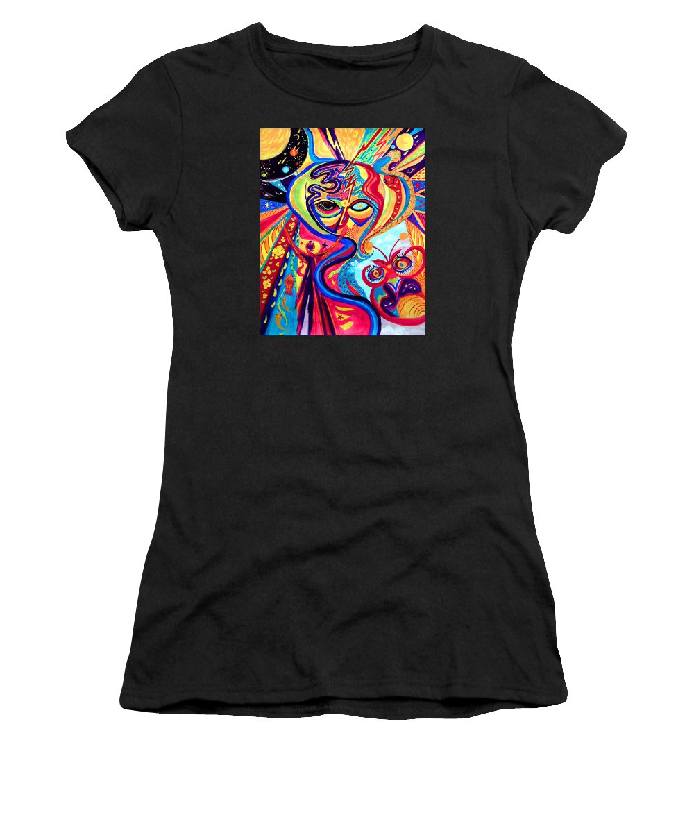Abstract Women's T-Shirt (Athletic Fit) featuring the painting My Brain by Marina Petro