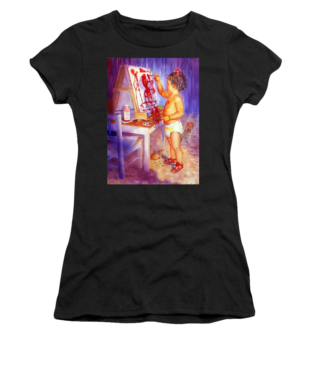 Watercolor Paintings Women's T-Shirt (Athletic Fit) featuring the painting My Favorite Painter by Estela Robles