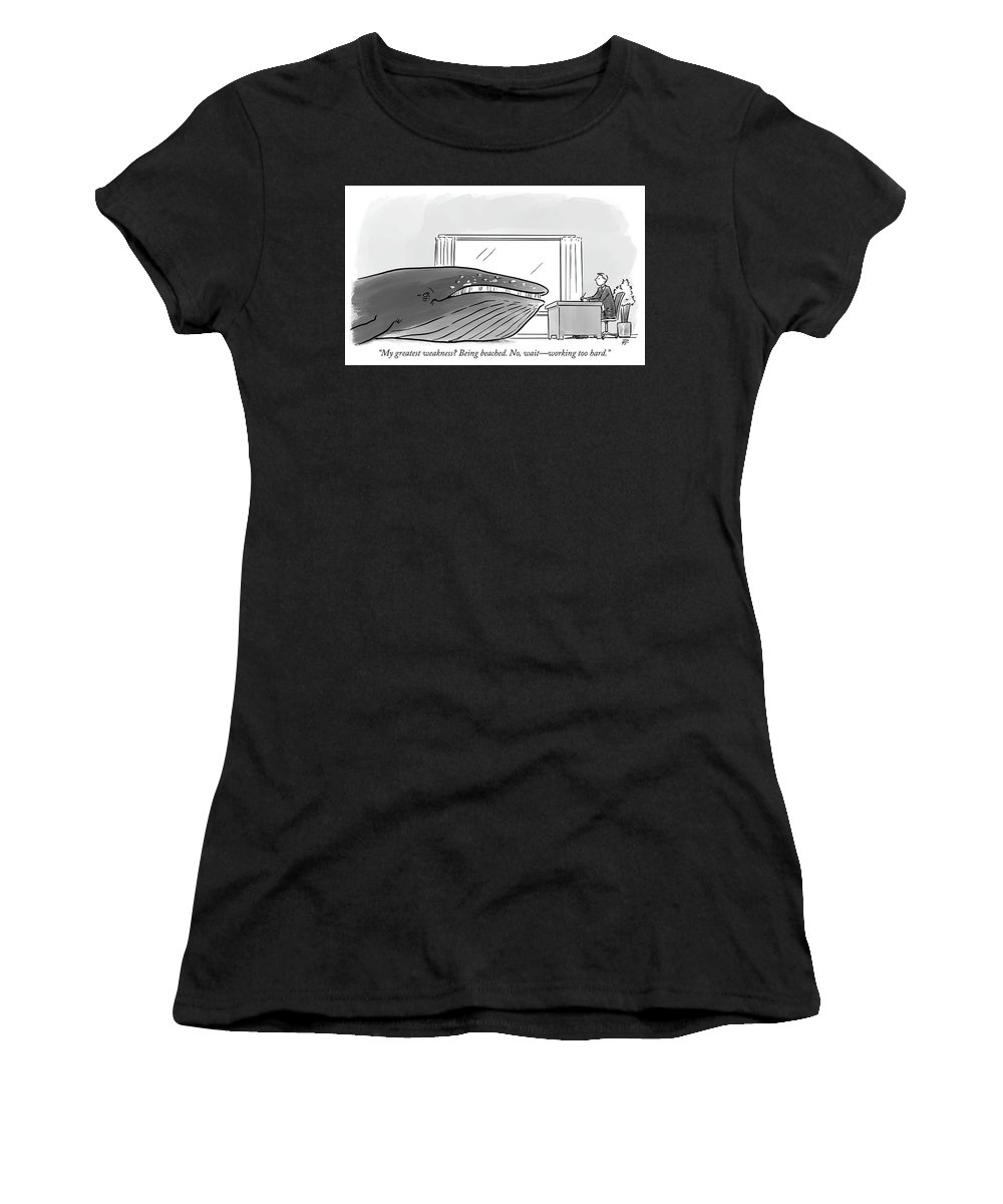 My Greatest Weakness? Being Beached. No Women's T-Shirt featuring the drawing My Greatest Weakness by Pia Guerra