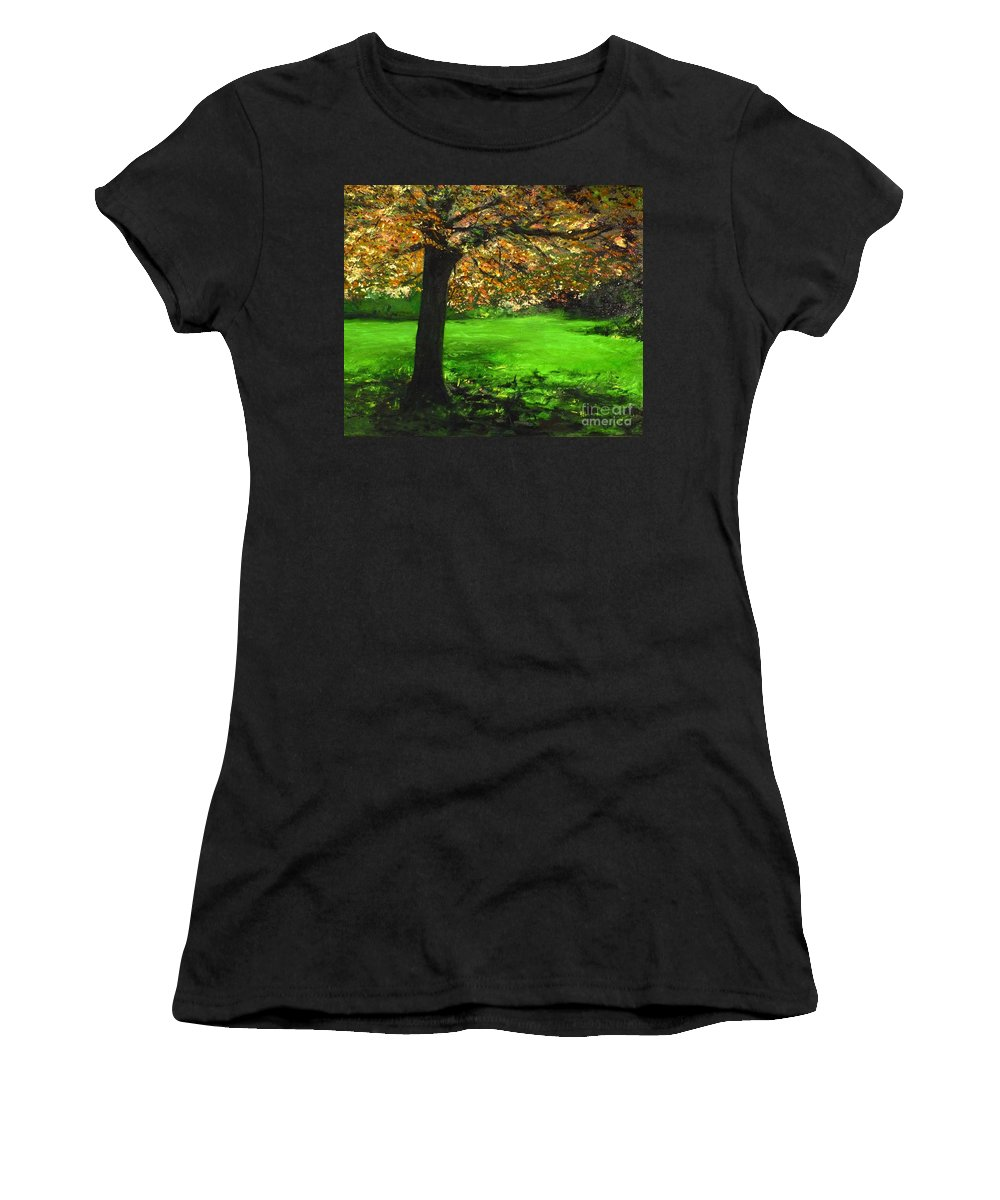 Spiritualism Women's T-Shirt (Athletic Fit) featuring the painting My Love Of Trees I by Lizzy Forrester